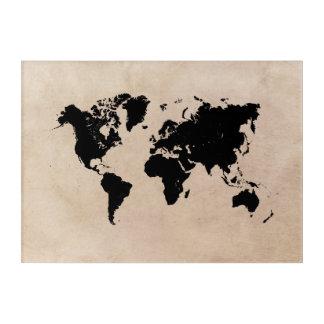 Impresión Acrílica negro del mapa del mundo
