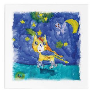 Impresión Acrílica Noche estrellada Pegaso de la acuarela con el palo