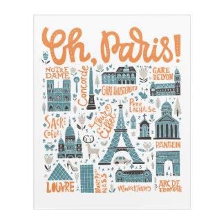 Impresión Acrílica ¡Oh, París! tipografía de la ciudad del |