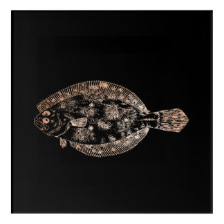 Impresión Acrílica Oro subió negro del océano del mar de los pescados