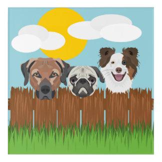 Impresión Acrílica Perros afortunados del ilustracion en una cerca de