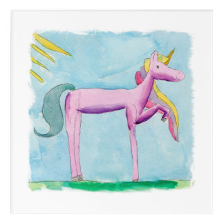 Impresión Acrílica Pintura infantil de la acuarela con el caballo del