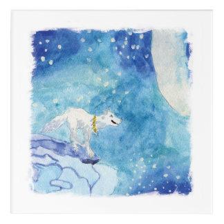 Impresión Acrílica Pintura infantil de la acuarela con el lobo nevoso