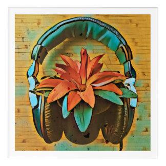 Impresión Acrílica Planta retra con los auriculares