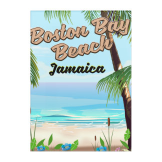 Impresión Acrílica Playa de la bahía de Boston, Jamaica