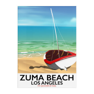 Impresión Acrílica Poster de la playa del carril del LA de la playa