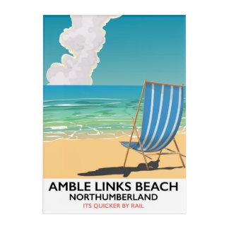 Impresión Acrílica Poster del viaje de Northumberland de la playa de