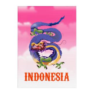 Impresión Acrílica Poster retro del viaje del dragón de Indonesia