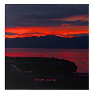 """Impresión Acrílica Puesta del sol 12"""" del lago de cabeza llana,"""