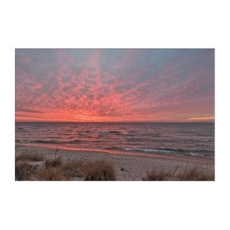 Impresión Acrílica Puesta del sol en diciembre en el lago Michigan