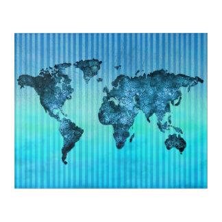 Impresión Acrílica Rayas azules de neón del mapa del mundo el |