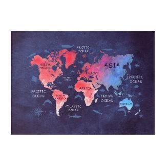 Impresión Acrílica rojo azul del mapa del mundo