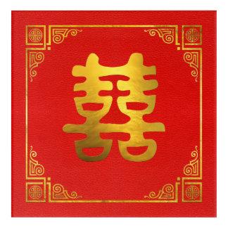 Impresión Acrílica Símbolo doble de Feng Shui de la felicidad