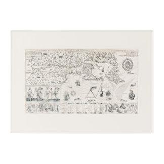 Impresión Acrílica Tarjeta Francesa el Canadá (Quebec) por Champlain