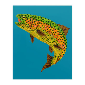 Impresión Acrílica Trucha arco iris 1 de la hoja de Aspen