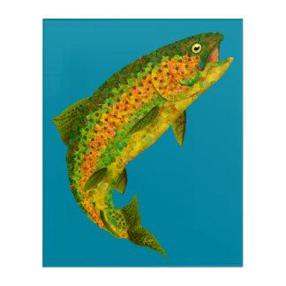 Impresión Acrílica Trucha arco iris 4 de la hoja de Aspen