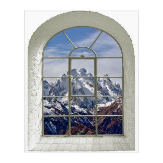 Impresión Acrílica Ventana falsa curvada de los picos de montaña