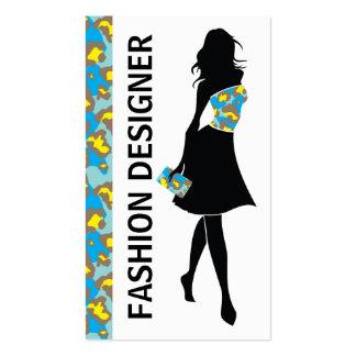 Impresión amarilla azul de la pantera del chica tarjeta de visita