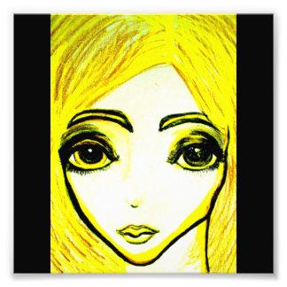 Impresión amarilla de la foto del chica 6x6