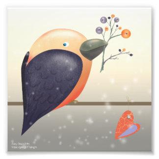 Impresión anaranjada de la foto del petirrojo del