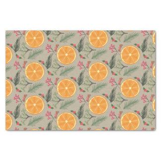 Impresión anaranjada de la guirnalda del navidad papel de seda