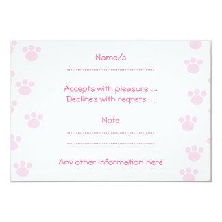 Impresión animal de la pata. Modelo rosa claro y Invitación 8,9 X 12,7 Cm