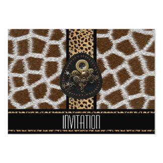 Impresión animal de la piel del negro del leopardo invitación 12,7 x 17,8 cm