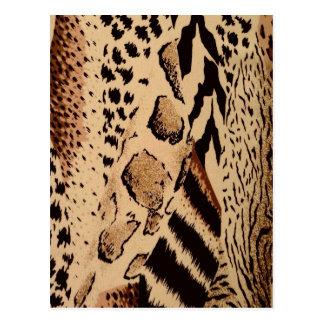 Impresión animal de la tela del safari tarjetas postales