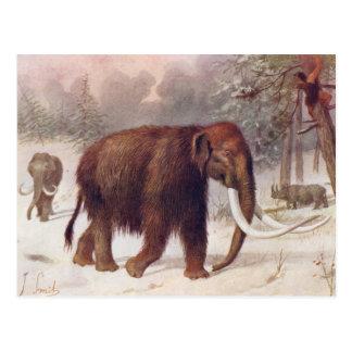 Impresión antigua animal prehistórica del mamut postal
