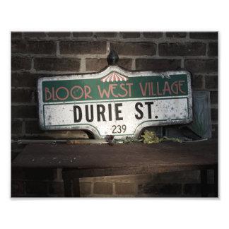 Impresión antigua de la foto de la placa de calle