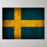 Impresión apenada bandera del poster de Suecia