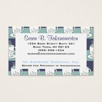 Impresión azul bonita de las tazas de té tarjeta de negocios
