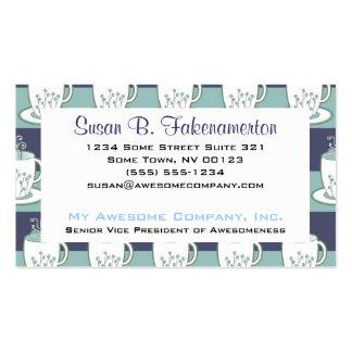 Impresión azul bonita de las tazas de té plantillas de tarjetas personales