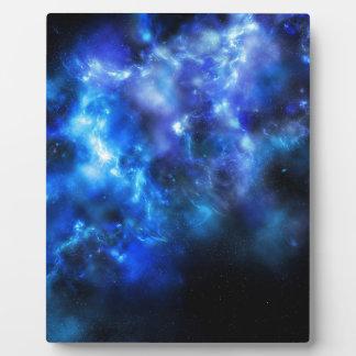 Impresión azul de la galaxia placa expositora