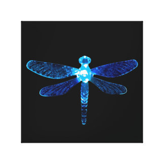Impresión azul de la lona de la libélula