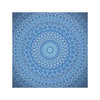 Impresión azul de la lona de la mandala que calma