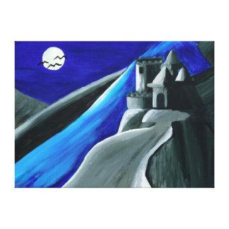 Impresión azul de la lona del castillo del vampiro