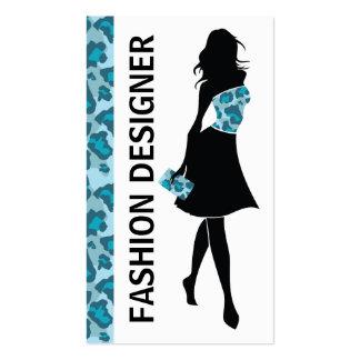 Impresión azul de la pantera del chica del diseñad tarjetas de visita
