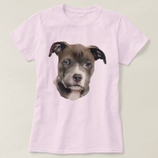 Impresión azul del retrato del perro de Pitbull Camiseta