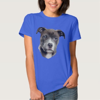 Impresión azul del retrato del perro de Pitbull Camisetas