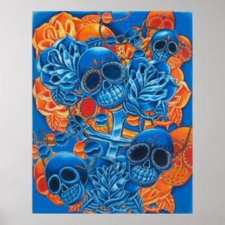 Impresión azul y anaranjada de los cráneos póster