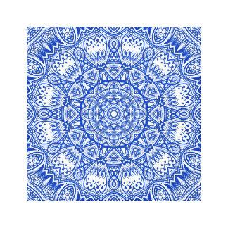 Impresión azul y blanca de la lona de la mandala