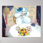 Impresión blanca del poster de la fiesta del té de