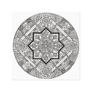 Impresión blanco y negro de la lona de la mandala