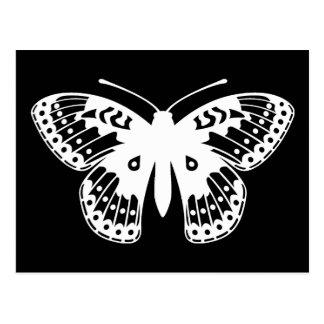 Impresión blanco y negro de la mariposa del postal