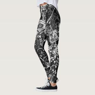 impresión blanco y negro de la pintada leggings