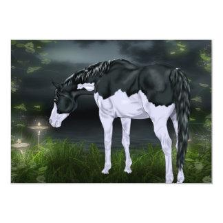 Impresión blanco y negro del caballo de la pintura invitación 12,7 x 17,8 cm