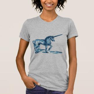 Impresión c.1551 del vintage del UNICORNIO en azul Camisetas