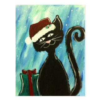 Impresión caprichosa del gatito del navidad postal