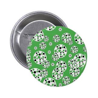 Impresión circular moderna verde y blanca pins
